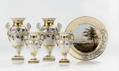 Five Paris or Italian porcelai