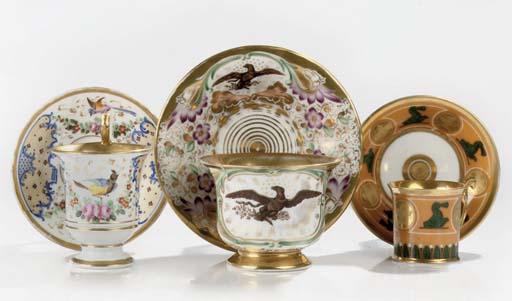 Three French porcelain gilt ca