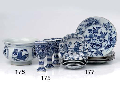 Three Chinese blue and white f