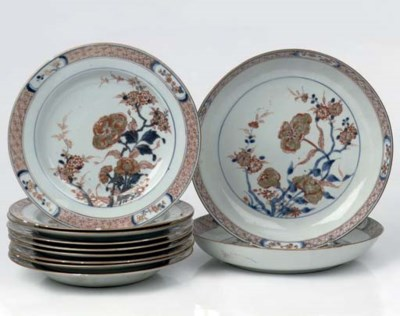 A set of nine Chinese Imari pl