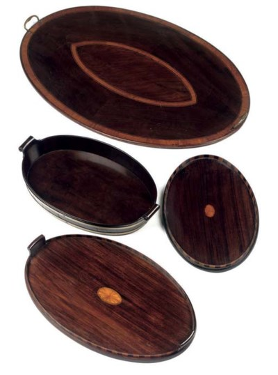 FOUR ENGLISH VARIOUS OVAL MAHO