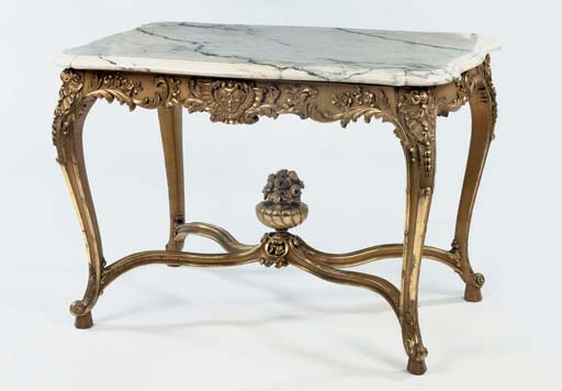 A FRENCH CARVED GILTWOOD CENTR