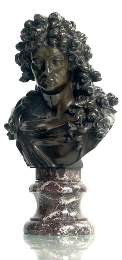 A BRONZE BUST OF LOUIS XIV