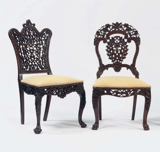 TWO ANGLO-INDIAN CARVED ROSEWO