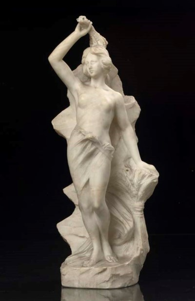 A CARVED ALABASTER FIGURE ALLE