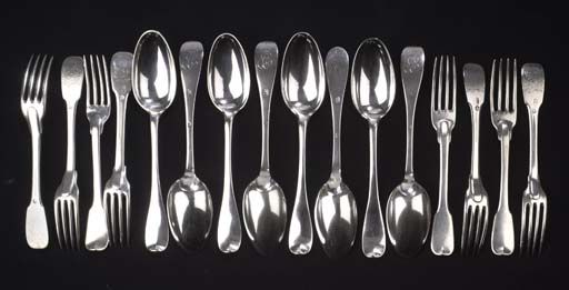 A set of eight German silver t
