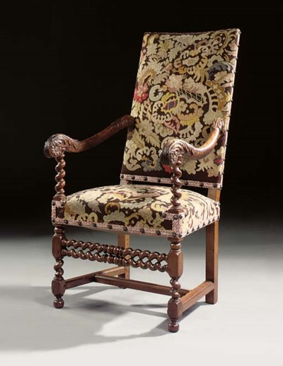 A LOUIS XIV WALNUT ARMCHAIR