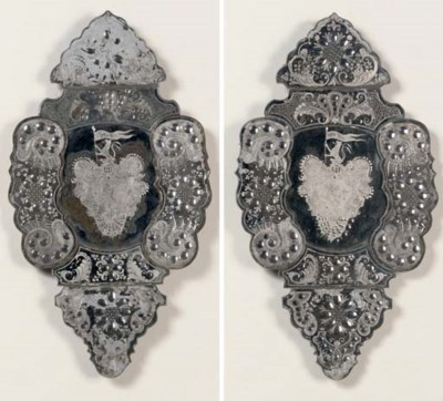 A PAIR OF CUT-GLASS AND ENGRAV