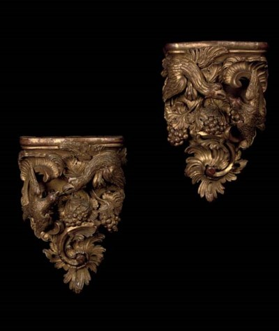 A PAIR OF GERMAN CARVED GILTWO