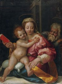 The Holy Family in an interior