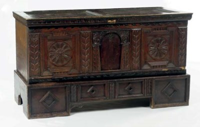 AN AUSTRIAN STAINED WOOD CHEST