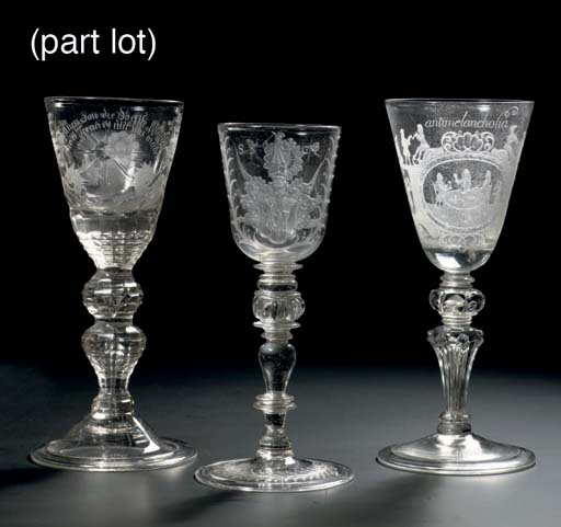 Three German engraved goblets