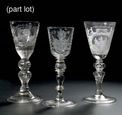Three German engraved goblets