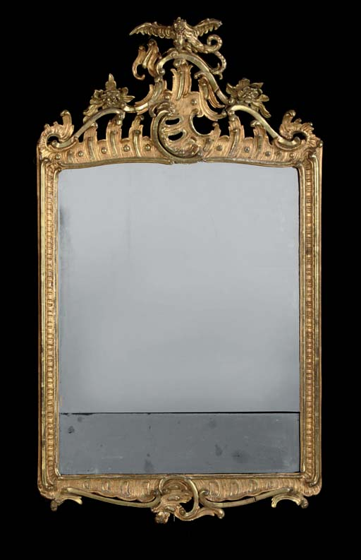 A GERMAN GILT GESSO MIRROR