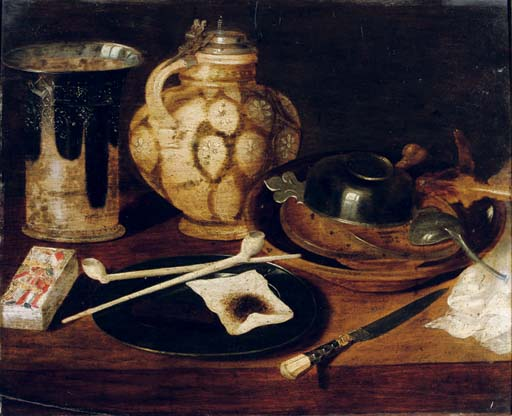A deck of cards, a pewter plate with pipes and tobacco, an earthenware beaker and jug, a knife and an earthenware bowl with pewter objects on a table