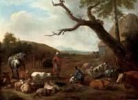 An Italianate wooded landscape with the departure of Jacob and Laban