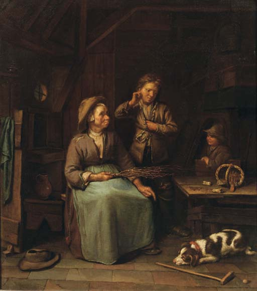 Dutch School, c. 1700 , A peasant woman with two boys in ...