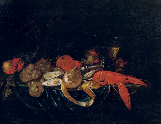 A lobster, oysters and a partially pealed lemon on a pewter plate with peaches, grapes, oranges, a salt sellar and a glass of wine on a draped table