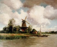 A windmill along a river