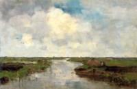 Farmer in a polderlandscape