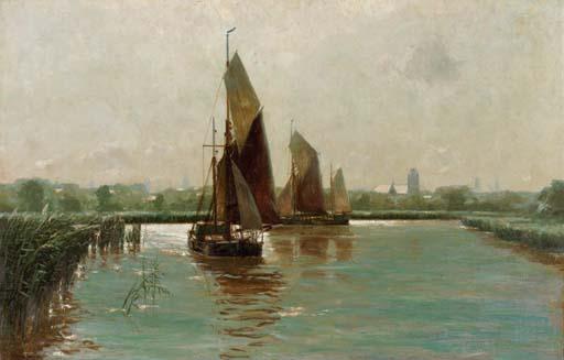 Sailing in a riverlandscape