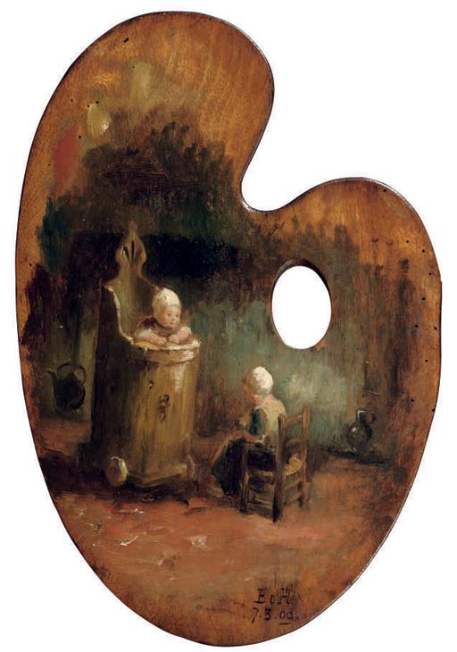 Children in an interior - a palette