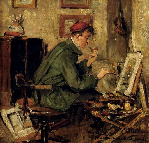 Mijnen collega E. Moll: the artist Evert Moll in his studio