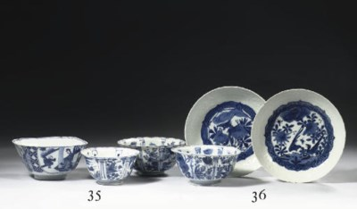 Two Ming blue and white saucer