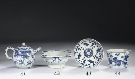 A blue and white late Ming sau