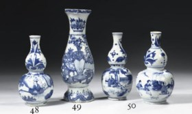 A Transitional blue and white double gourd vase