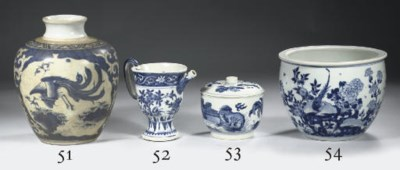 A blue and white deep bowl