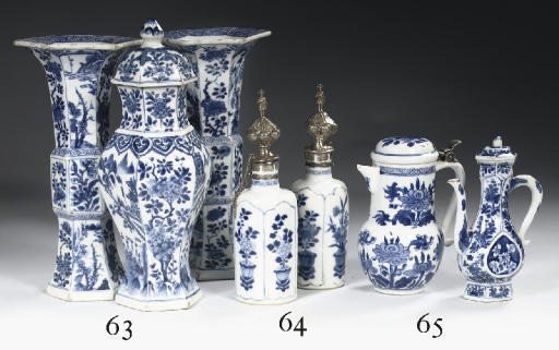 Two blue and white ewers and c