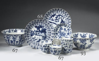A set of eleven blue and white