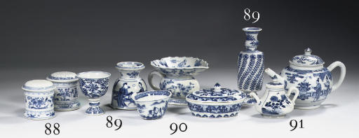 A blue and white spittoon, lad