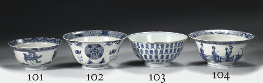 A blue and white 'shou charact