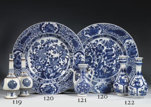A blue and white and famille r