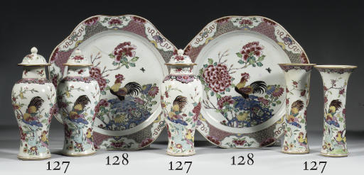 A pair of famille rose shaped