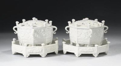 A pair of blanc-de-chine 'Marc