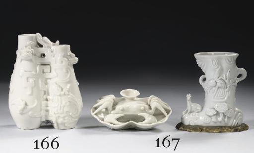 A blanc-de-chine twin-vase