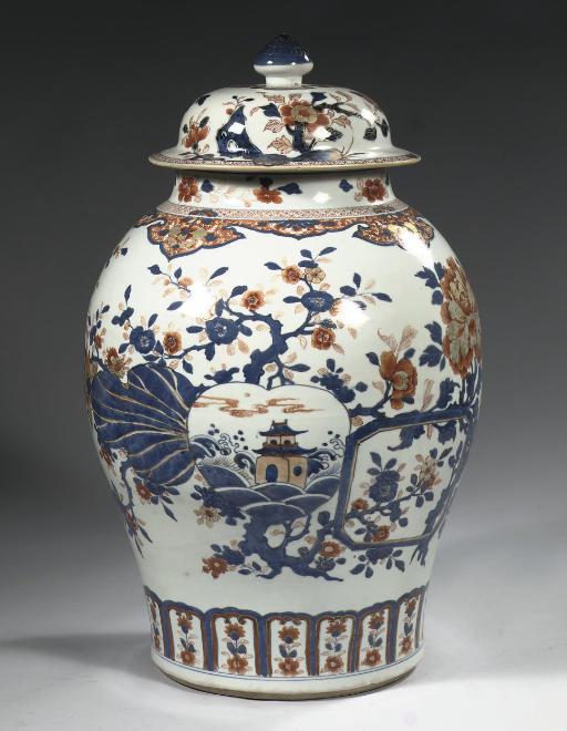 A large Imari baluster jar and