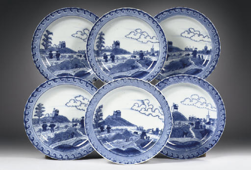 A set of six blue and white 'S