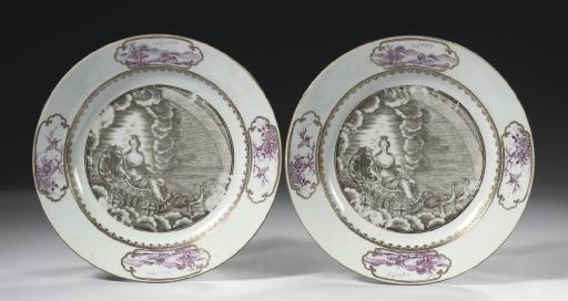 A pair of 'mythological' plate