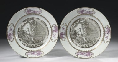 A pair of 'mythological' plate