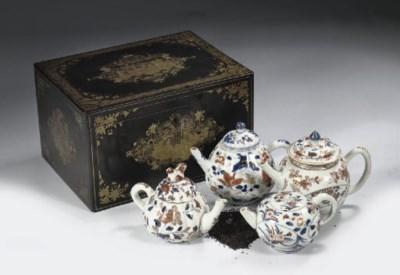 Four Imari teapots and covers