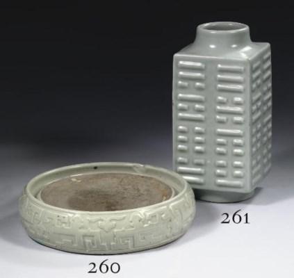 A Celadon-glazed vase, cong