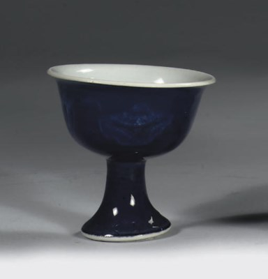 A blue-glazed stemcup