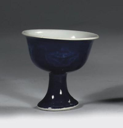 A blue-glazed stemcup