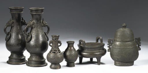 An assorted group of six bronz