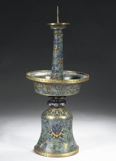 A cloisonne enamel candlestick