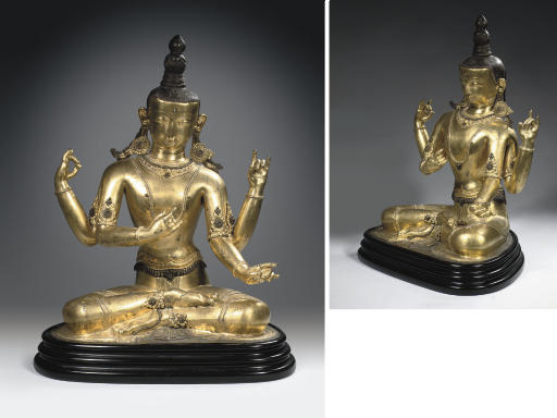 A Tibetan gilt-bronze embossed